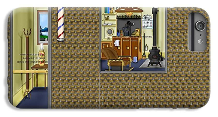 Townscape IPhone 6 Plus Case featuring the painting Dugger's Barber Shop by Anne Norskog