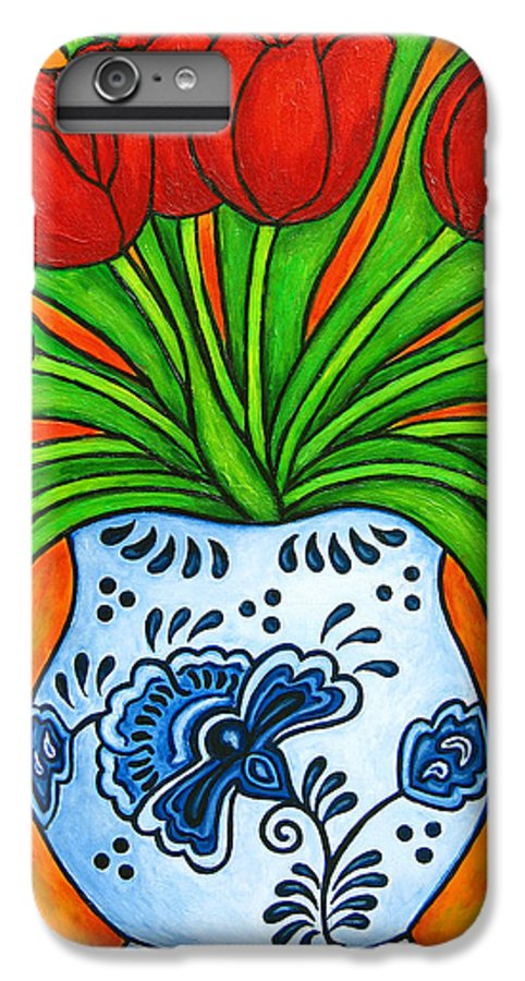 White IPhone 6 Plus Case featuring the painting Dutch Delight by Lisa Lorenz
