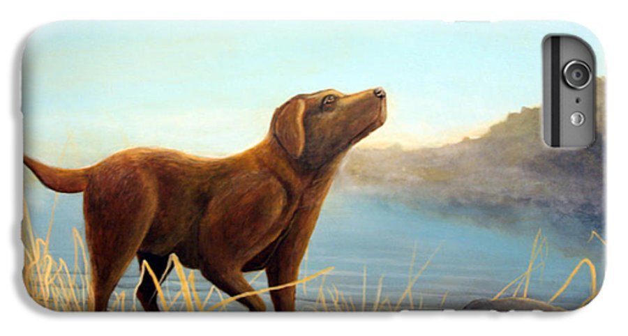 Chocolate Lab Painting IPhone 6 Plus Case featuring the Dutch by Rick Huotari