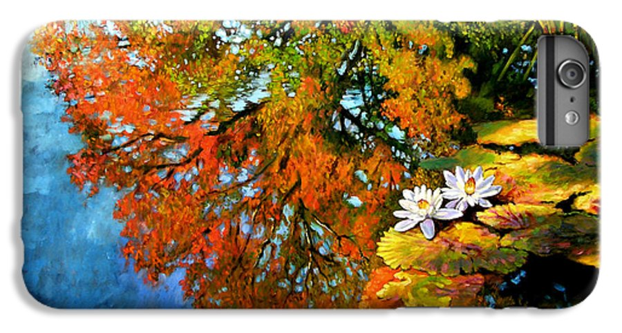 Landscape IPhone 6 Plus Case featuring the painting Early Morning Fall Colors by John Lautermilch