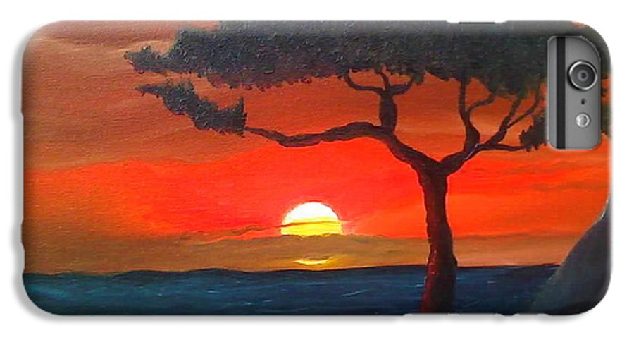 Africa! IPhone 6 Plus Case featuring the painting East African Sunset by Portland Art Creations