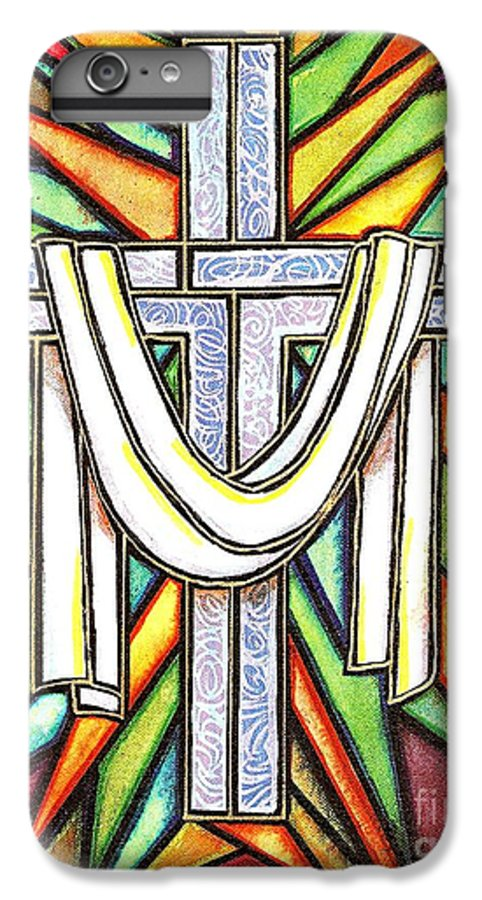 Cross IPhone 6 Plus Case featuring the painting Easter Cross 5 by Jim Harris