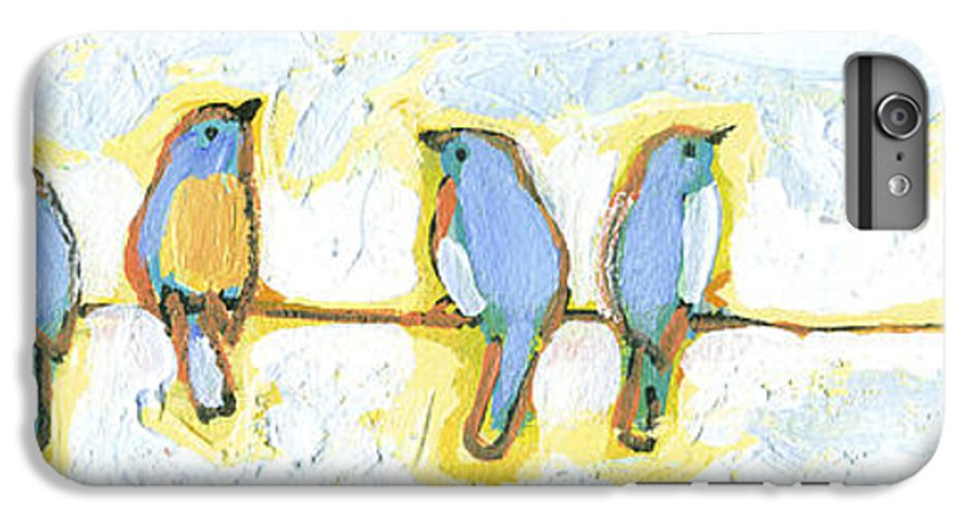 Bird IPhone 6 Plus Case featuring the painting Eight Little Bluebirds by Jennifer Lommers