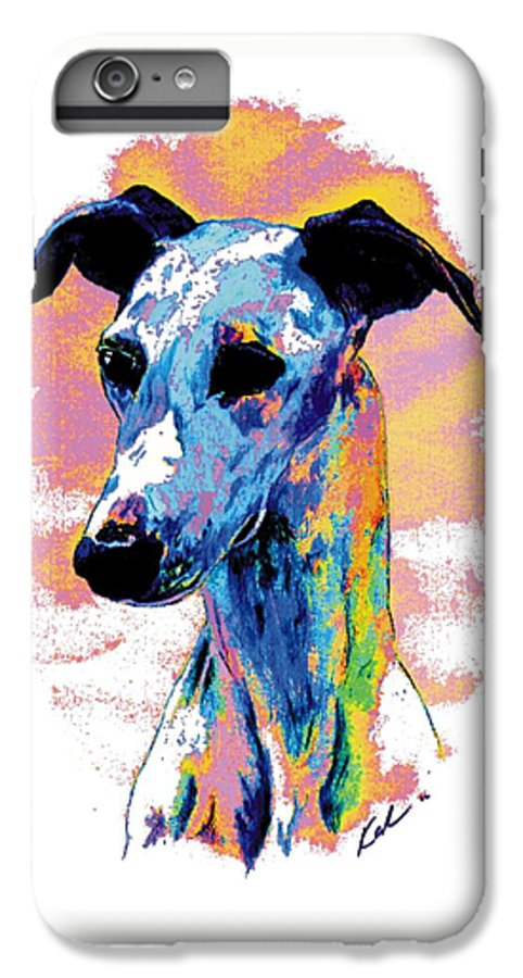 Electric Whippet IPhone 6 Plus Case featuring the digital art Electric Whippet by Kathleen Sepulveda