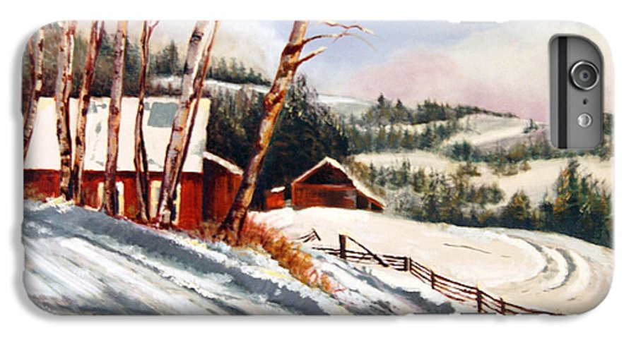 Snow IPhone 6 Plus Case featuring the painting Elephant Mountain Ranch by Susan Moore