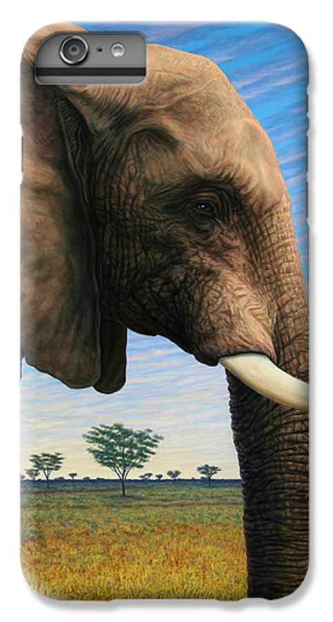 Elephant IPhone 6 Plus Case featuring the painting Elephant On Safari by James W Johnson