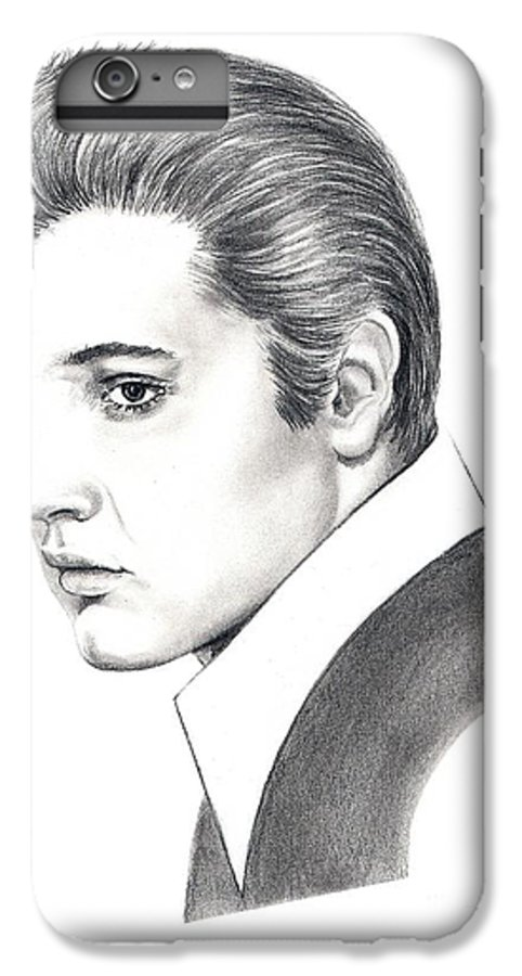Pencil. Portrait IPhone 6 Plus Case featuring the drawing Elvis Presley by Murphy Elliott