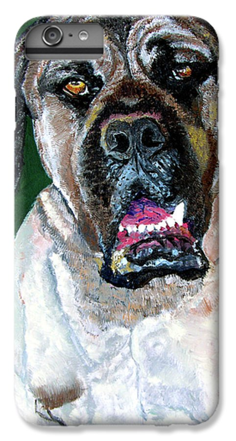 Dog Portrait IPhone 6 Plus Case featuring the painting Ely by Stan Hamilton