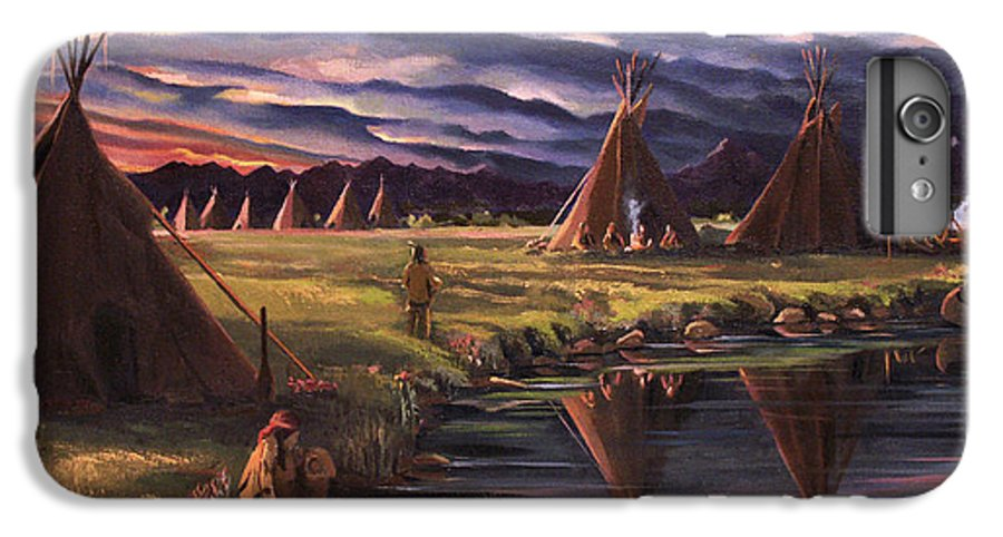 Native American IPhone 6 Plus Case featuring the painting Encampment At Dusk by Nancy Griswold