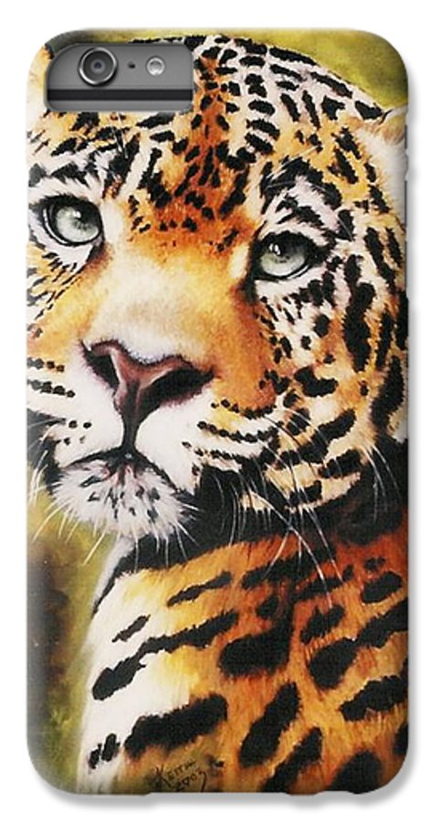 Jaguar IPhone 6 Plus Case featuring the pastel Enchantress by Barbara Keith
