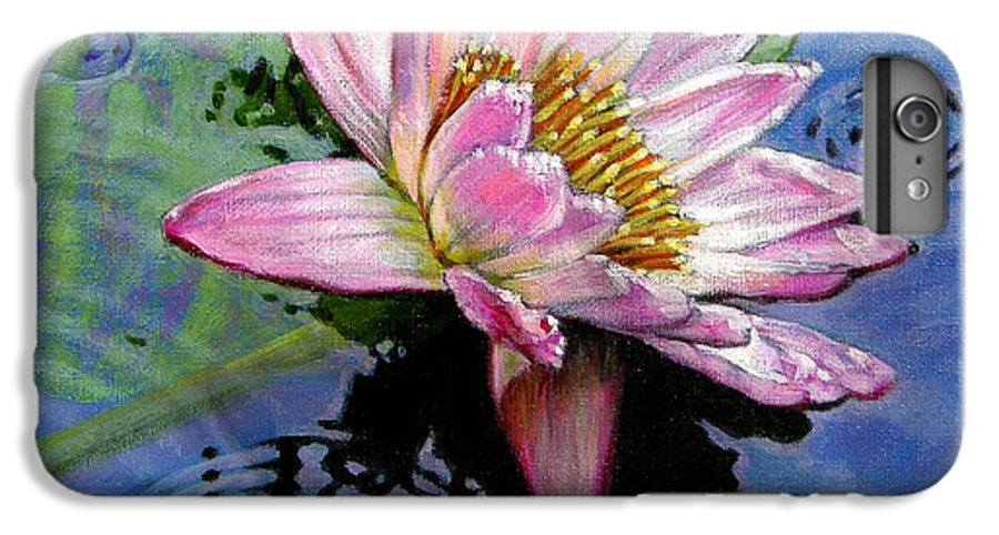Water Lily IPhone 6 Plus Case featuring the painting End Of Summer Shower by John Lautermilch