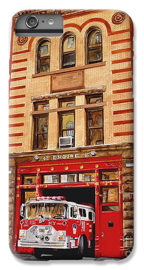 Firehouse IPhone 6 Plus Case featuring the painting Engine Company 47 by Paul Walsh
