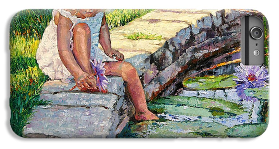 Small Girl IPhone 6 Plus Case featuring the painting Enjoying Yesterdays Sunlight by John Lautermilch