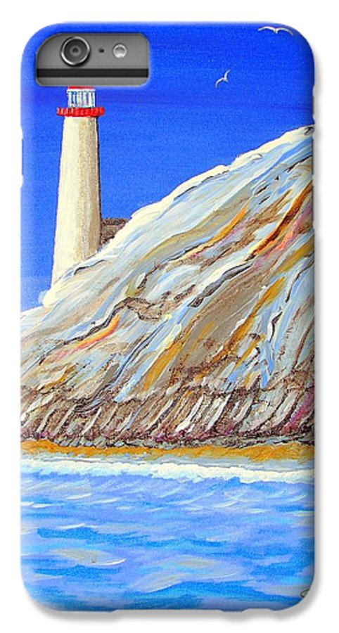 Lighthouse IPhone 6 Plus Case featuring the painting Entering The Harbor by J R Seymour