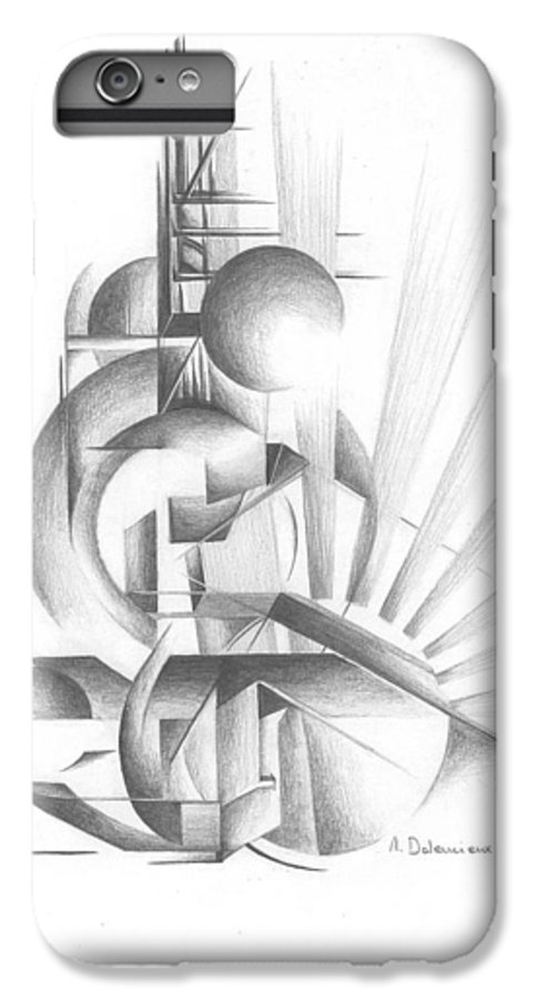 Abstract IPhone 6 Plus Case featuring the drawing Equilibre by Muriel Dolemieux