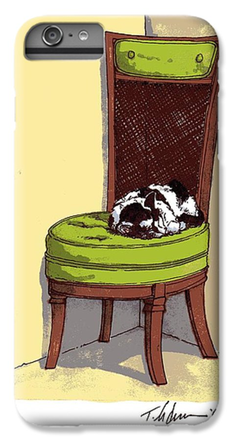 Cat IPhone 6 Plus Case featuring the drawing Ernie And Green Chair by Tobey Anderson