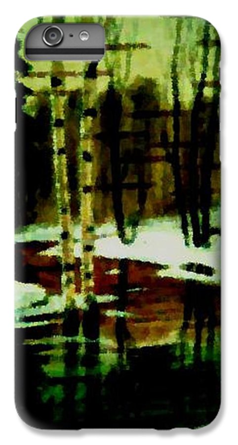Sprig.forest.snow.water.trees.birches. Puddles.sky.reflection. IPhone 6 Plus Case featuring the digital art European Spring by Dr Loifer Vladimir