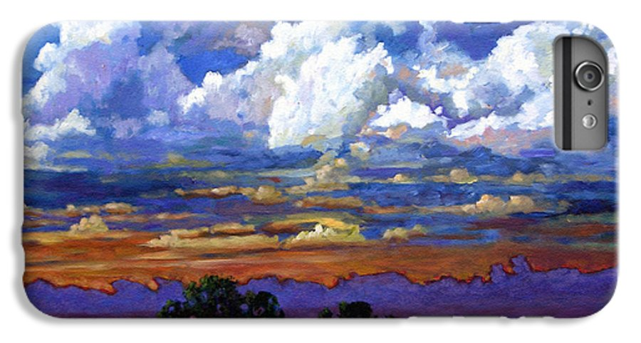 Landscape IPhone 6 Plus Case featuring the painting Evening Clouds Over The Prairie by John Lautermilch