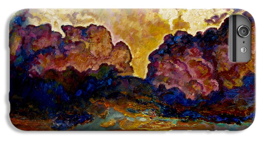 Sunset IPhone 6 Plus Case featuring the painting Evening Clouds Over The Valley by John Lautermilch