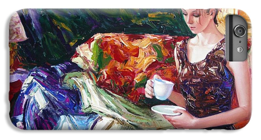 Figurative IPhone 6 Plus Case featuring the painting Evening Coffee by Sergey Ignatenko