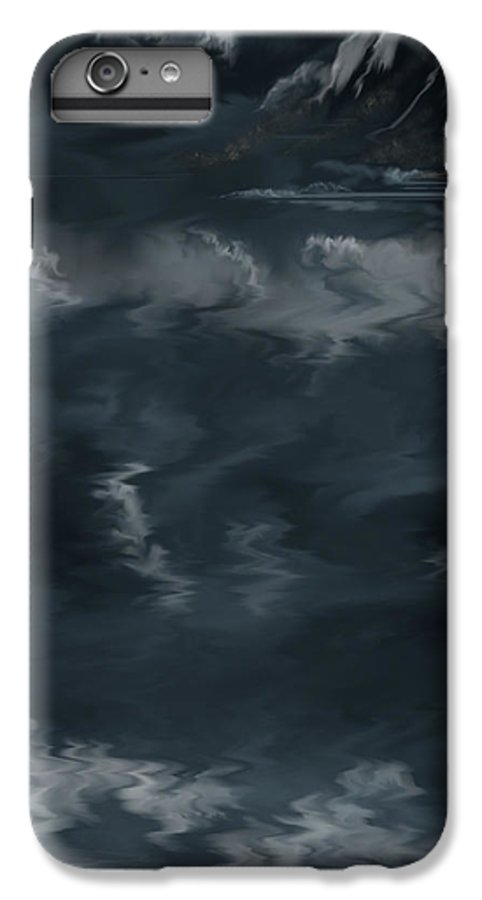 Seascape IPhone 6 Plus Case featuring the painting Evening Lights And Rocks by Anne Norskog