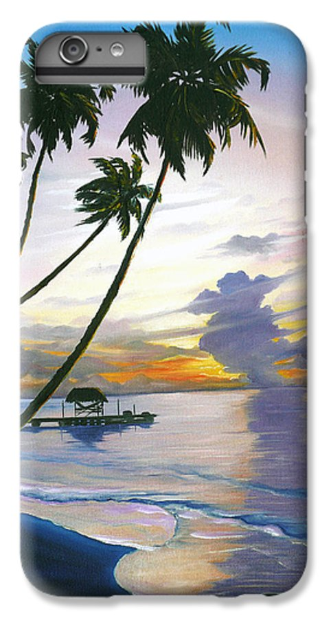 Ocean Painting Seascape Painting Beach Painting Sunset Painting Tropical Painting Tropical Painting Palm Tree Painting Tobago Painting Caribbean Painting Original Oil Of The Sun Setting Over Pigeon Point Tobago IPhone 6 Plus Case featuring the painting Eventide Tobago by Karin Dawn Kelshall- Best
