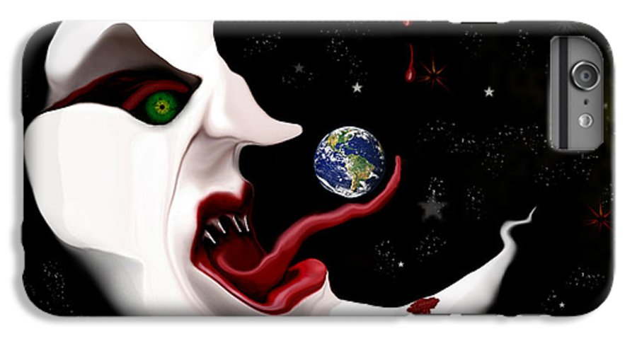 Moon IPhone 6 Plus Case featuring the digital art Evil Moon by Ruben Flanagan