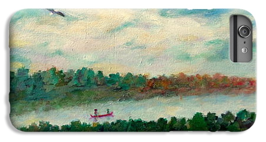 Canoeing On The Big Canadian Lakes IPhone 6 Plus Case featuring the painting Exploring Our Lake by Naomi Gerrard