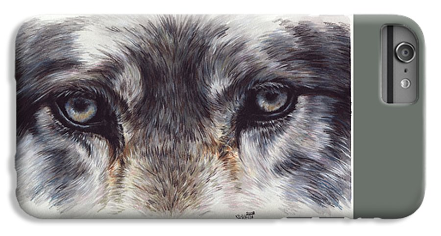 Wolf IPhone 6 Plus Case featuring the painting Eye-catching Wolf by Barbara Keith