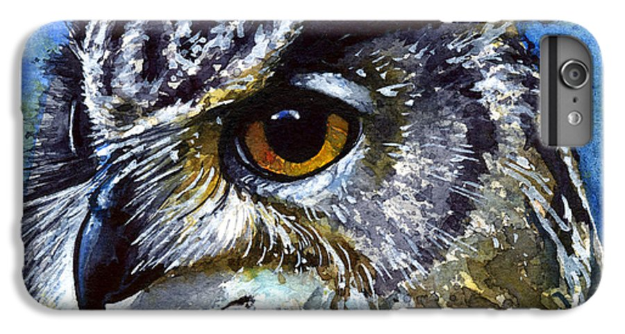 Owls IPhone 6 Plus Case featuring the painting Eyes Of Owls No.25 by John D Benson