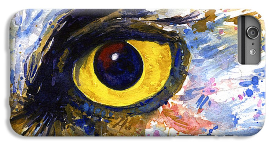 Owls IPhone 6 Plus Case featuring the painting Eyes Of Owl's No.6 by John D Benson