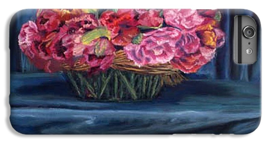 Flowers IPhone 6 Plus Case featuring the painting Fabric And Flowers by Sharon E Allen
