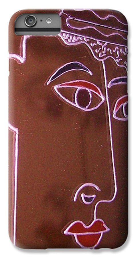 Faces IPhone 6 Plus Case featuring the painting Faces And Alphabets by Sylvia Hanna Dahdal