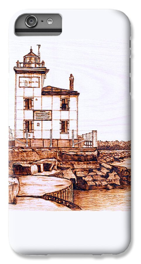 Lighthouse IPhone 6 Plus Case featuring the pyrography Fair Port Harbor by Danette Smith
