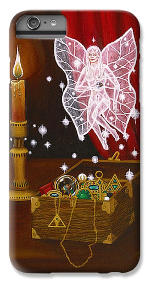 Fairy IPhone 6 Plus Case featuring the painting Fairy Treasure by Roz Eve