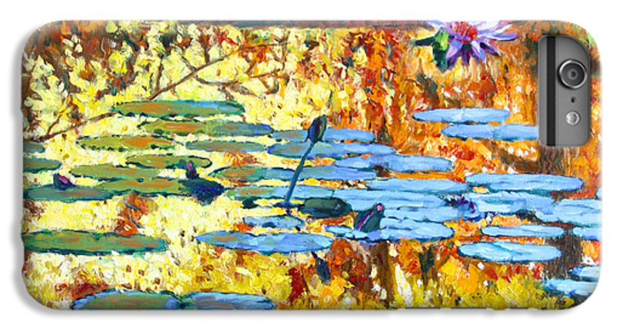 Fall IPhone 6 Plus Case featuring the painting Fall Colors On The Lily Pond by John Lautermilch
