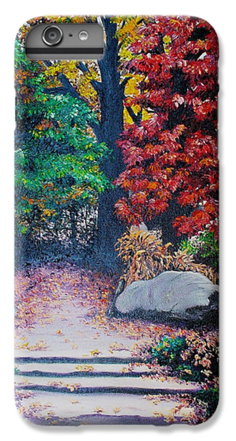 A N Original Painting Of An Autumn Scene In The Gateneau In Quebec IPhone 6 Plus Case featuring the painting Fall In Quebec Canada by Karin Dawn Kelshall- Best