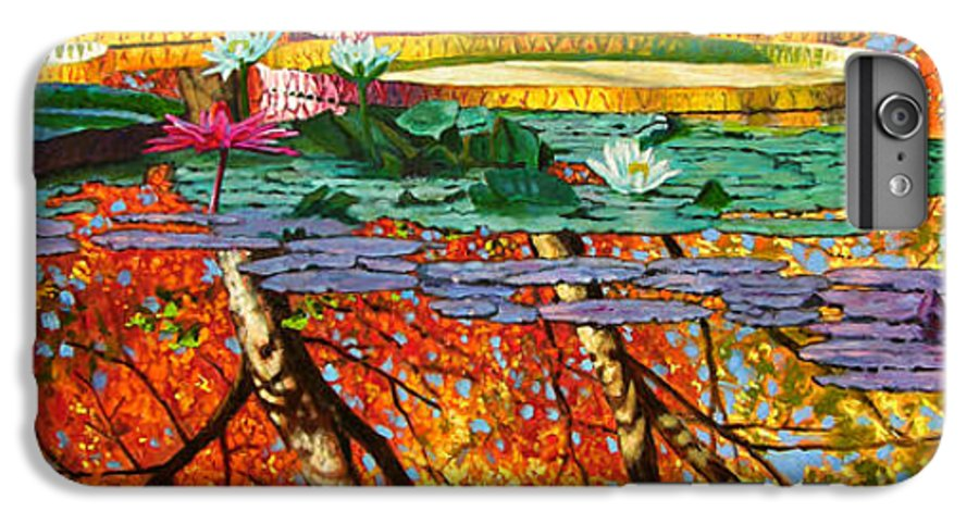 Garden Pond IPhone 6 Plus Case featuring the painting Fall Reflections 2 by John Lautermilch