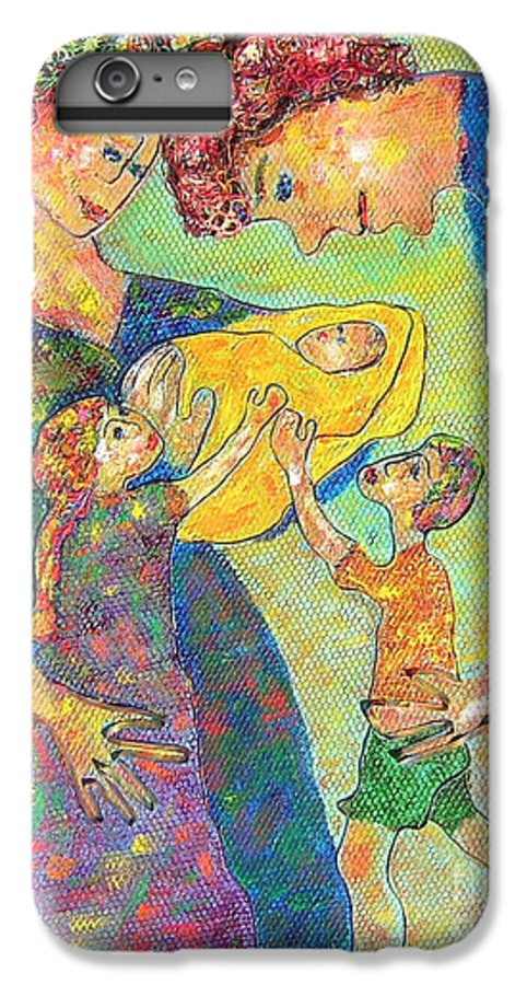 Family Enjoying Each Other IPhone 6 Plus Case featuring the painting Family Matters by Naomi Gerrard