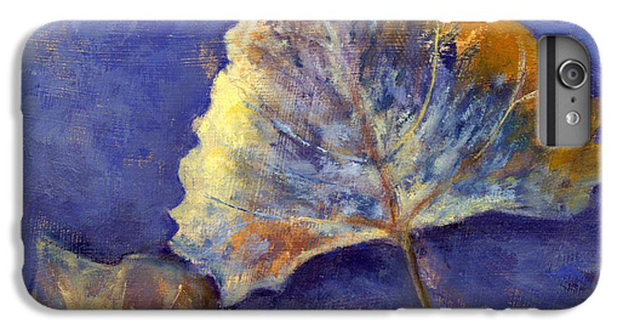 Leaves IPhone 6 Plus Case featuring the painting Fanciful Leaves by Chris Neil Smith