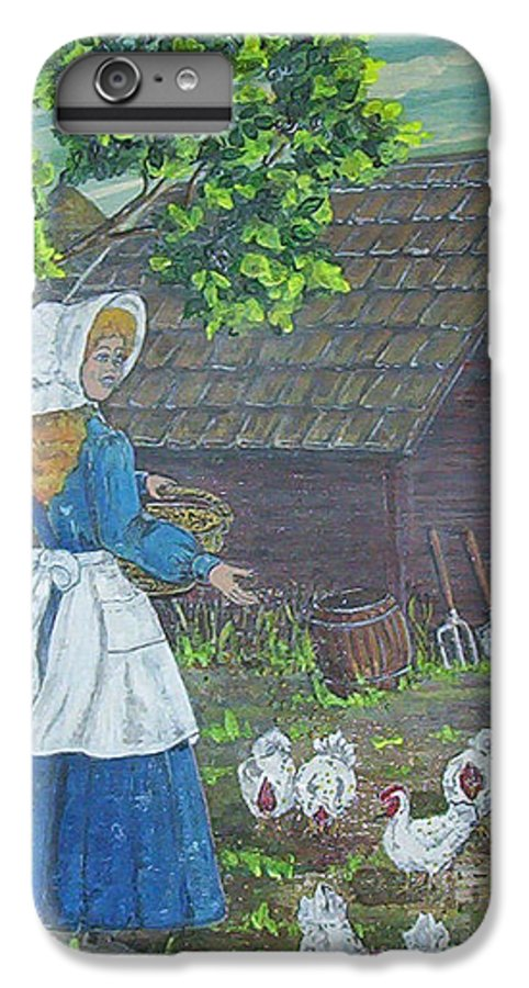 Barn IPhone 6 Plus Case featuring the painting Farm Work I by Phyllis Mae Richardson Fisher