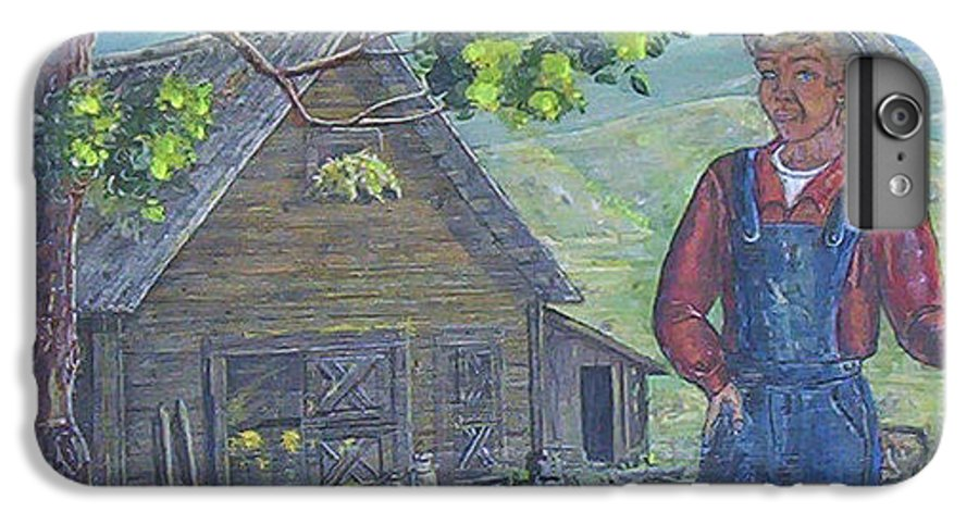 Barn IPhone 6 Plus Case featuring the painting Farm Work II by Phyllis Mae Richardson Fisher