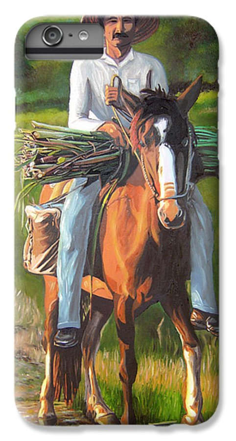 Cuban Art IPhone 6 Plus Case featuring the painting Farmer On A Horse by Jose Manuel Abraham