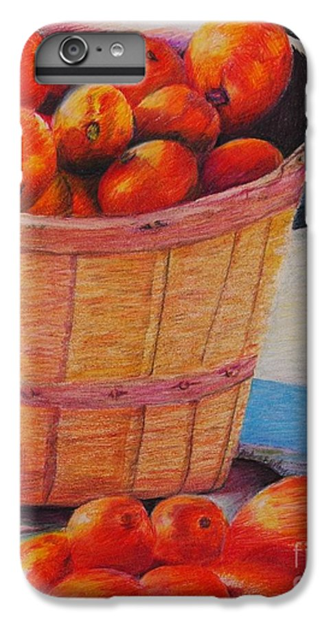 Produce In A Basket IPhone 6 Plus Case featuring the drawing Farmers Market Produce by Nadine Rippelmeyer