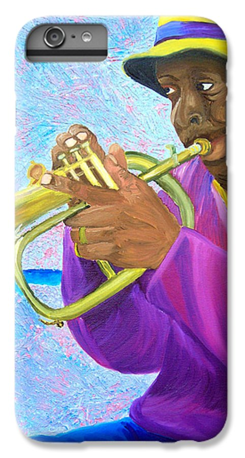 Street Musician IPhone 6 Plus Case featuring the painting Fat Albert Plays The Trumpet by Michael Lee