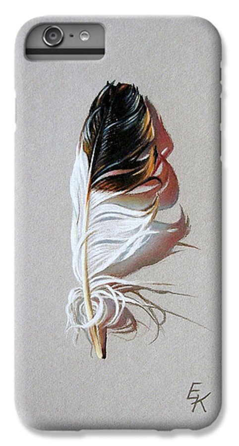 Still Life Feather IPhone 6 Plus Case featuring the drawing Feather And Shadow 3 by Elena Kolotusha