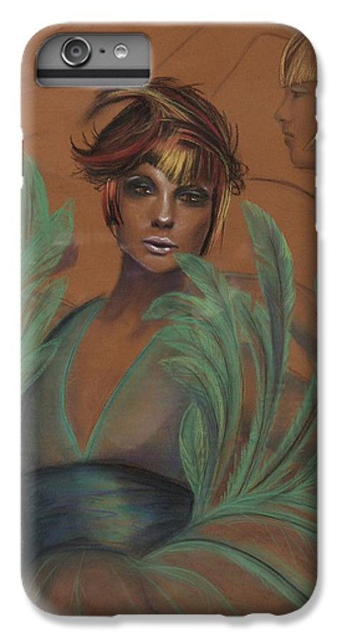 Feather IPhone 6 Plus Case featuring the drawing Feathers by Maryn Crawford