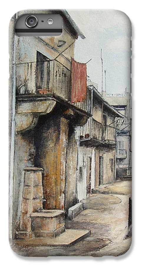 Fermoselle Zamora Spain Oil Painting City Scapes Urban Art IPhone 6 Plus Case featuring the painting Fermoselle by Tomas Castano