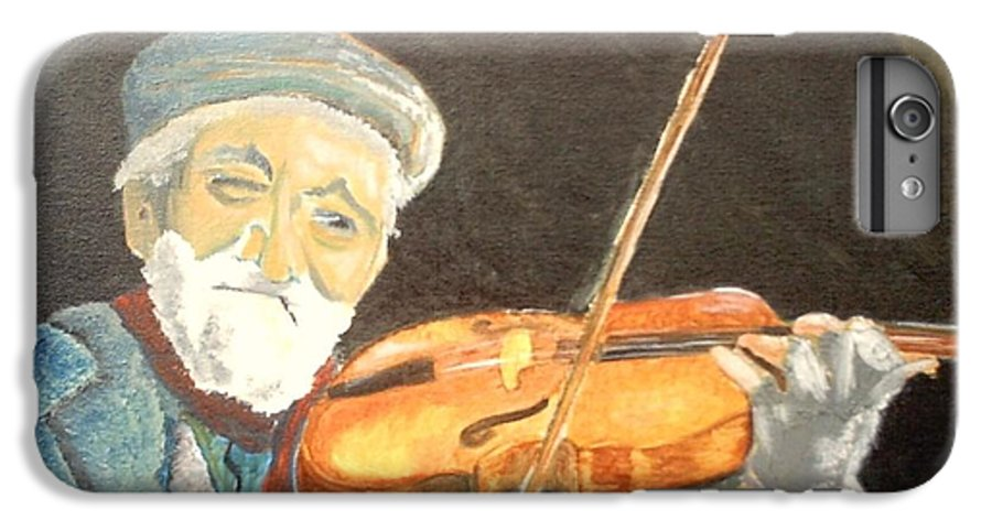 Hungry He Plays For His Supper IPhone 6 Plus Case featuring the painting Fiddler Blue by J Bauer