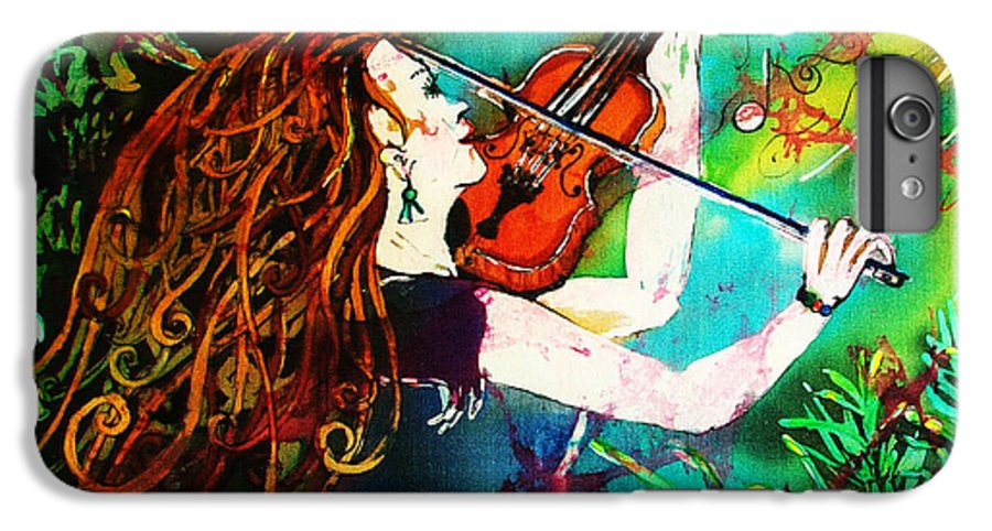 Music IPhone 6 Plus Case featuring the painting Fiddling Toward The Sun by Sue Duda